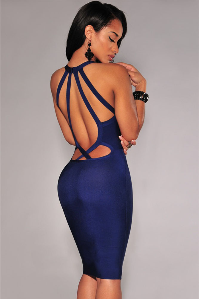 Navy Blue Bandage Dress