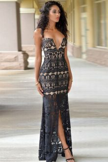 Front Slit Evening Dress