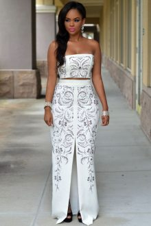White Jeweled Front Slit