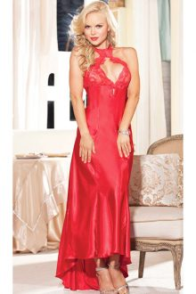 First Night Satin Gown Red