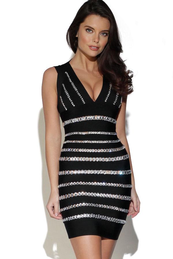 Crystals Embellished Black Dress