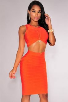 Orange Arched Bandage Skirt Set