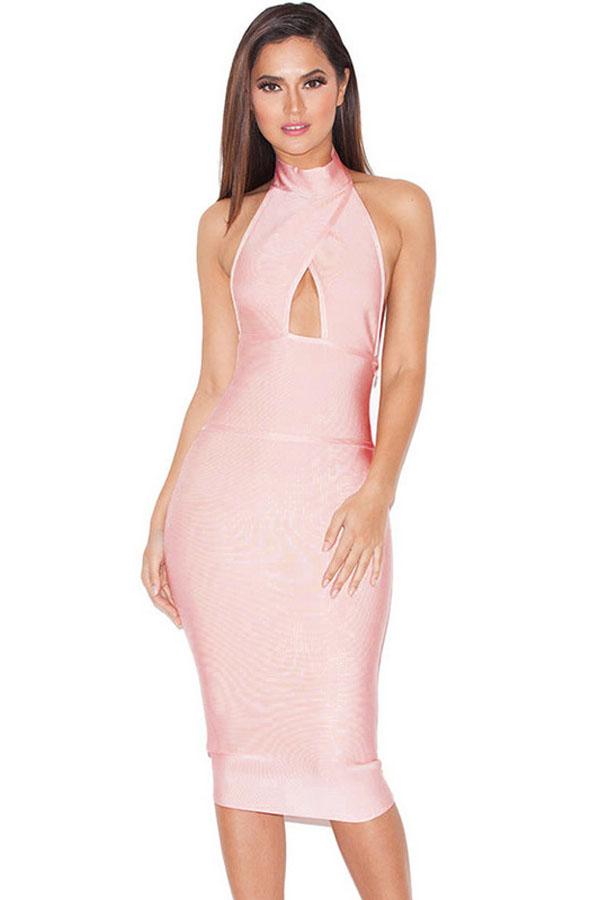 Peach Halterneck Cut out Dress