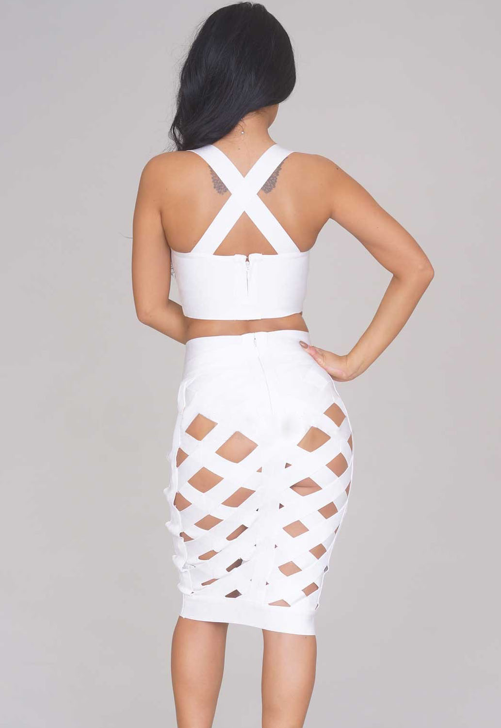 White Open Caged Skirt Set