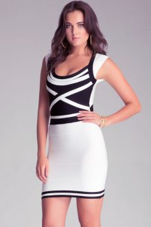 White Black Bodycon Bandage