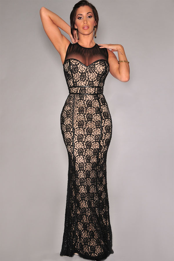 6950c4f48aa Black Lace Nude Illusion Mesh Accent Gown – Charming Wear