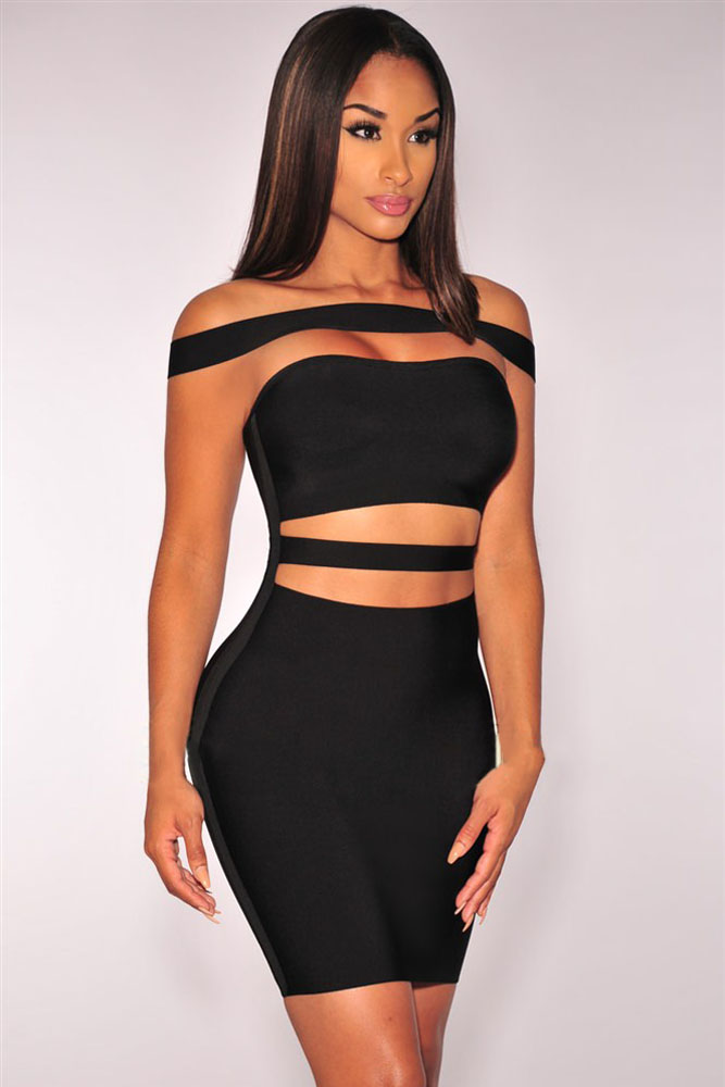 Black Off-shoulder Cut-out