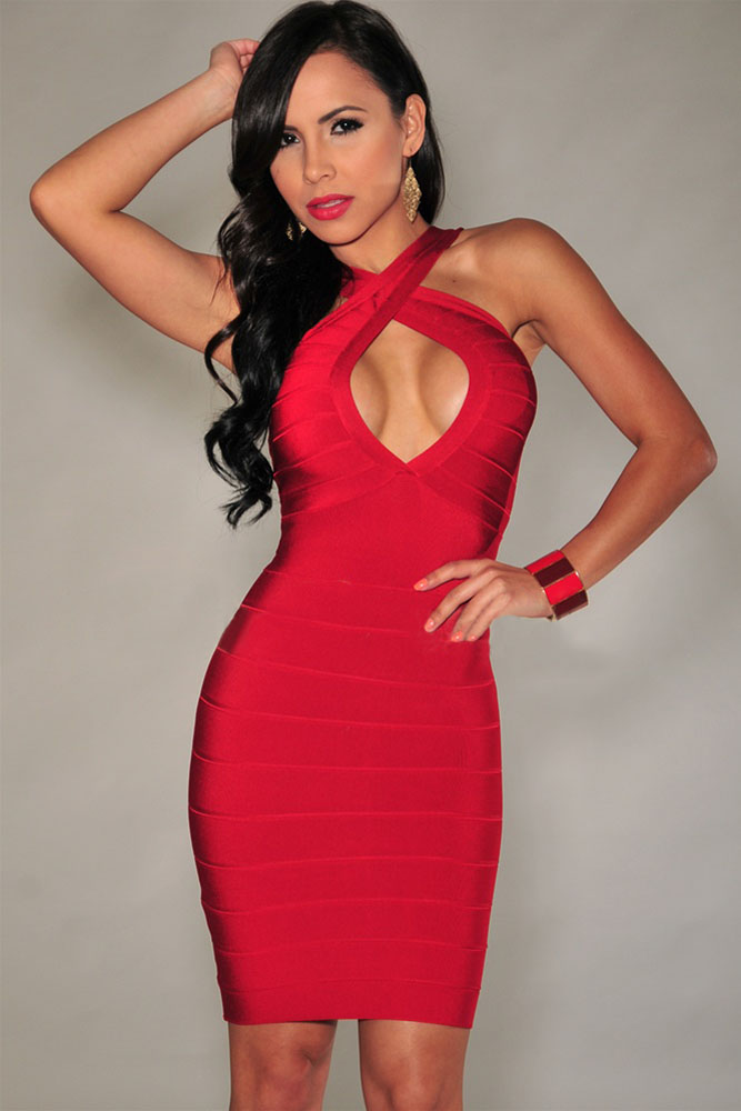 5d3d99943445 Red Cross Front Tight Dress – Charming Wear