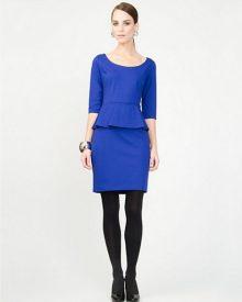 Ponte Blue Peplum Cocktail Dress