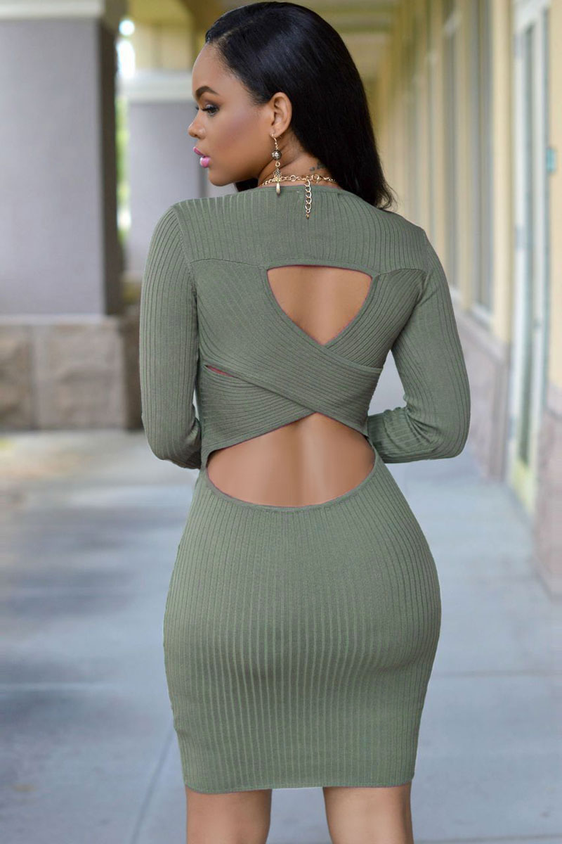 Green Cut-out Back Knit Dress