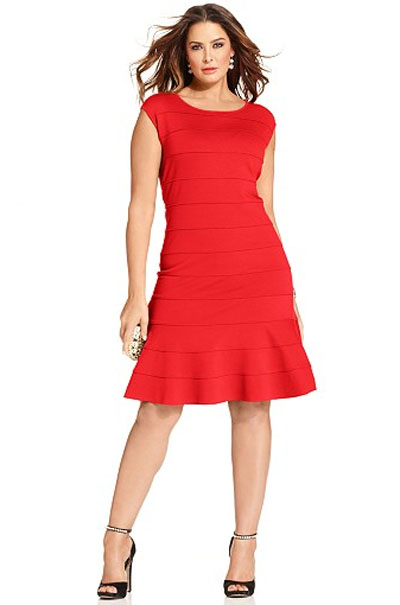 Spense Plus Size Cap-Sleeve A-Line Dress