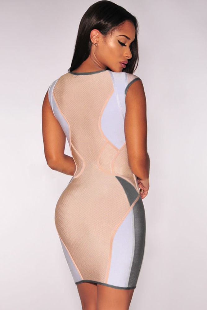 Pastel Zip up Bandage Dress