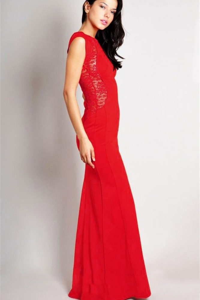 Red Maxi Dress with Lace | Charming Wear
