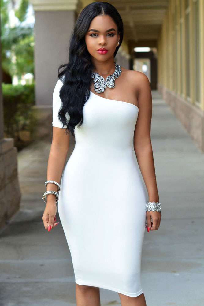 White One Shoulder Bodycon Knee Length