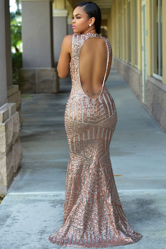 Blush Sequins Party Gown
