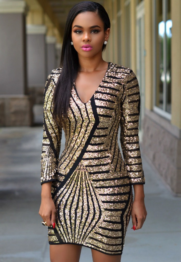 Long Sleeve Gold Sequin Dress Charming Wear