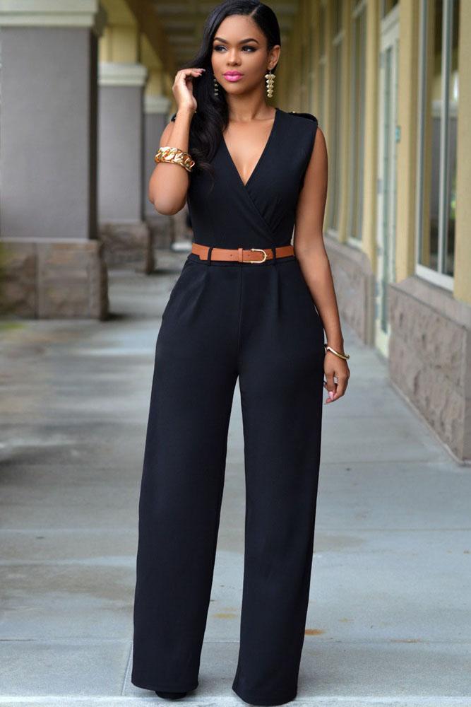 Black V Neck Jumpsuit Charming Wear