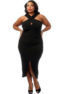Black Plus Size Cross Halter