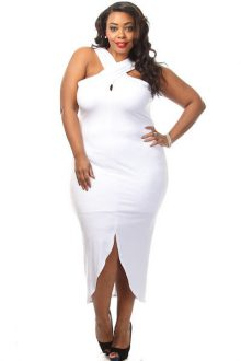 White Plus Size Cross Halter