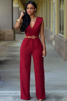 Red V Neck Jumpsuit