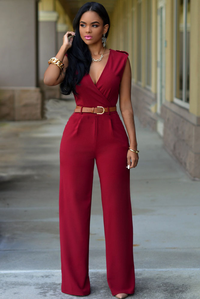 77eb0e1fde7f Red V Neck Jumpsuit – Charming Wear