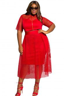 Red Mesh Joint Skirt Set