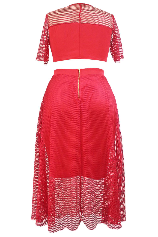 Red Mesh Joint Skirt Set