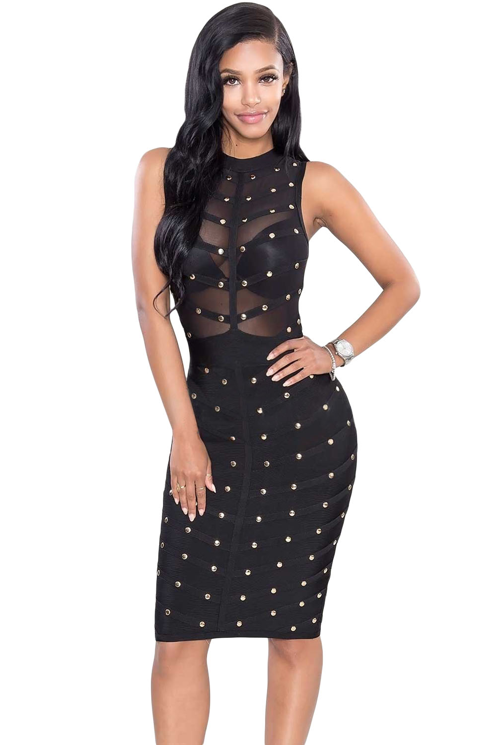 Black Studded Bandage Dress Charming Wear