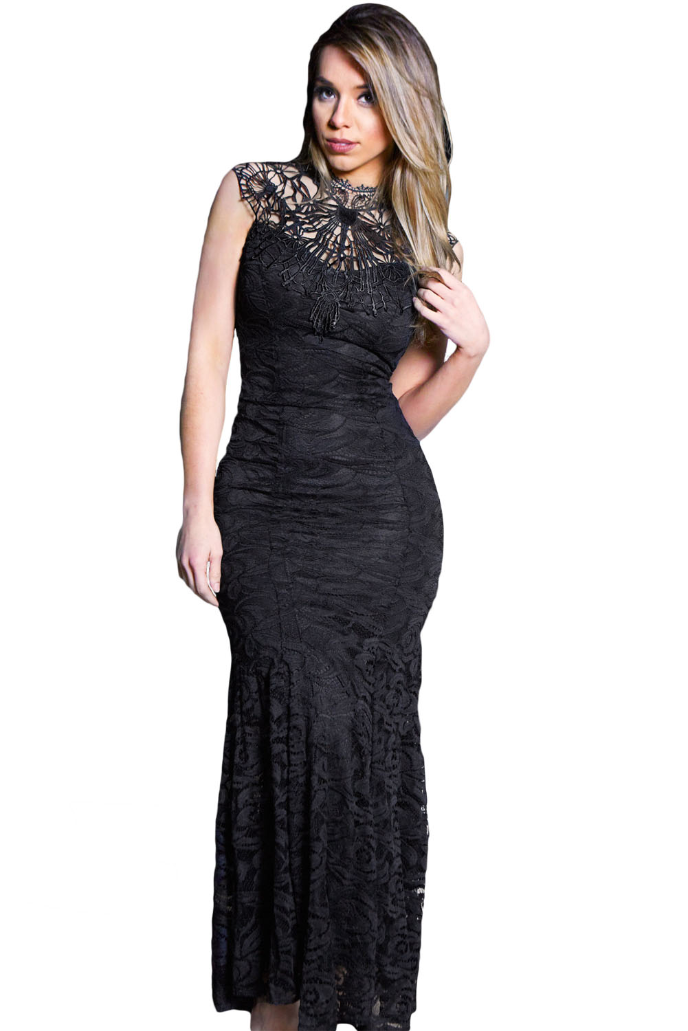Black Lace Sleeveless Long Mermaid