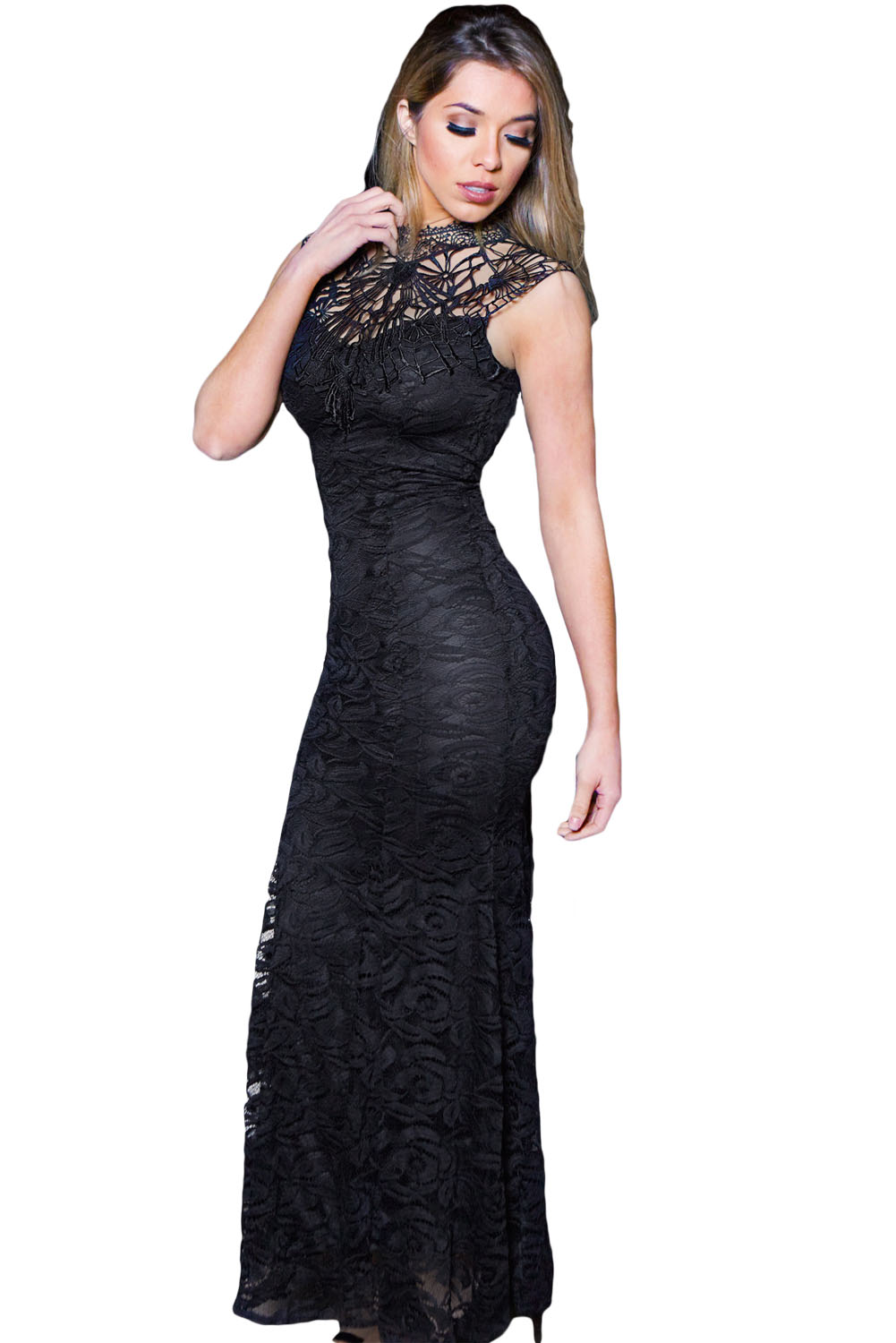 Lulus Exclusive! Open your eyes to a world of beautiful possibilities in the Lulus Awaken My Love Black Long Sleeve Lace Maxi Dress! Crocheted lace elegantly graces the fitted bodice of this stunning dress, with a V-neckline and sheer long sleeves/5().