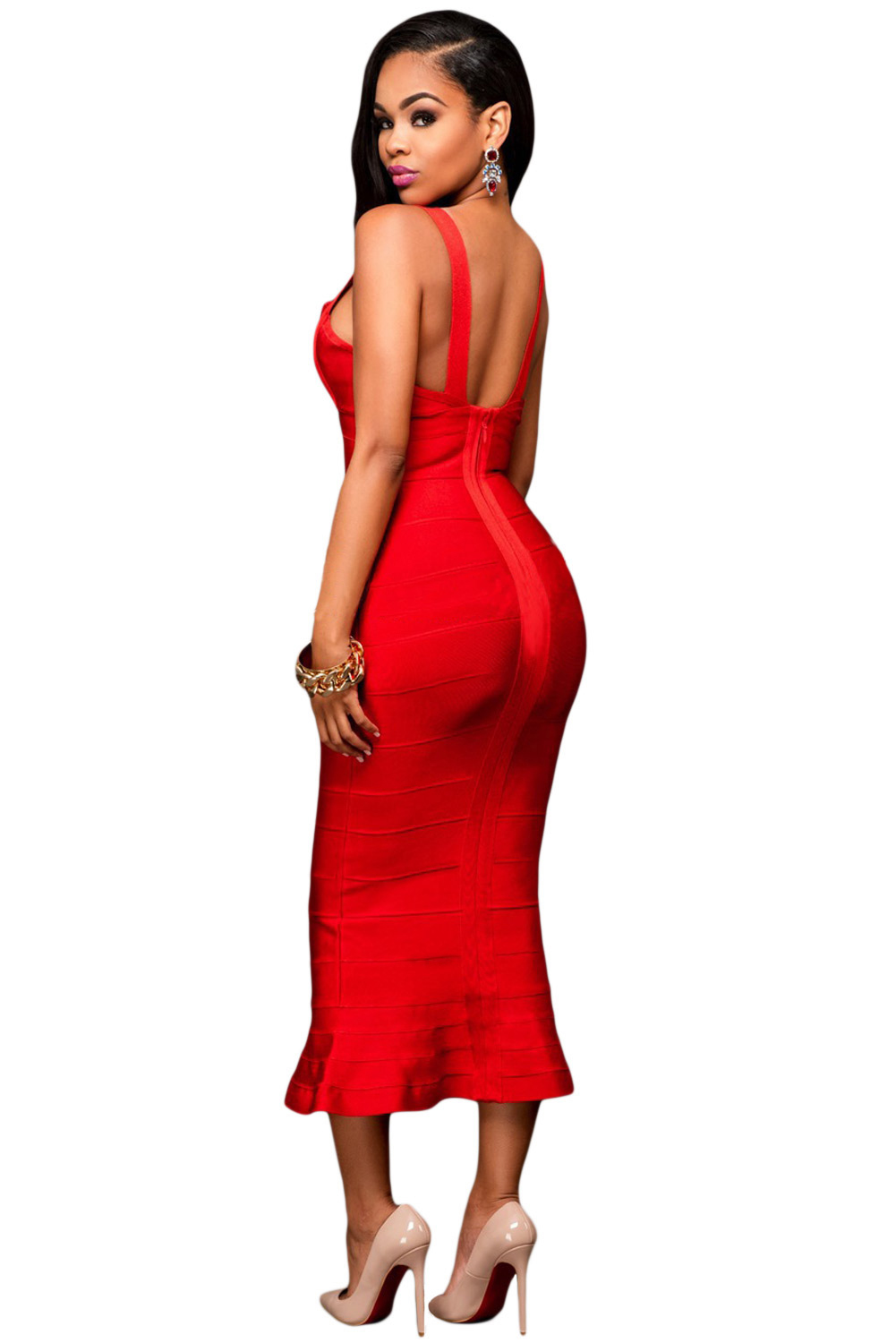 Red Fishtail Luxe Bandage Dress
