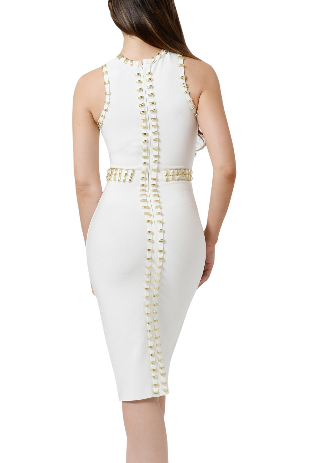 Gold Metal Embellished Detail White
