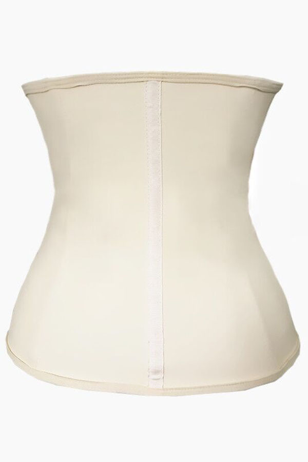 Zipper Hooks Beige Rubber Waist Trainer