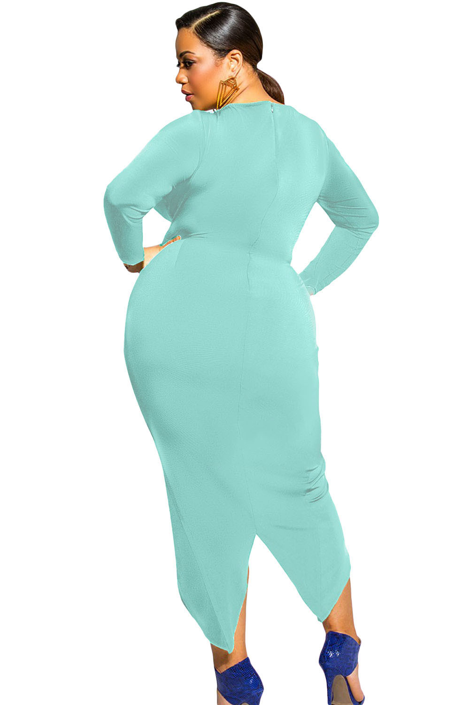 Aqua Knotted Slit Long Sleeve Dress