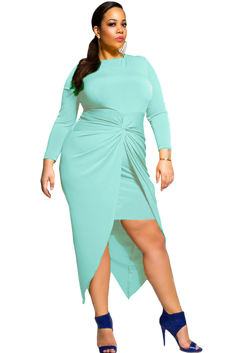 Aqua Knotted Slit Long Sleeve Dress | Charming Wear