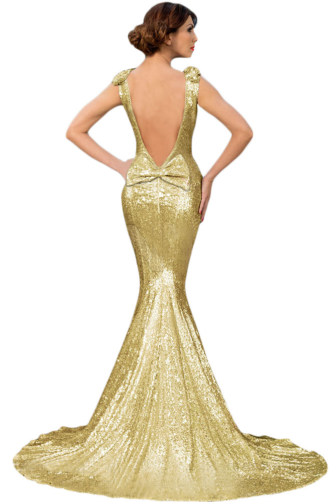 Gold Full Sequin Big Bow Accent Party Dress Charming Wear