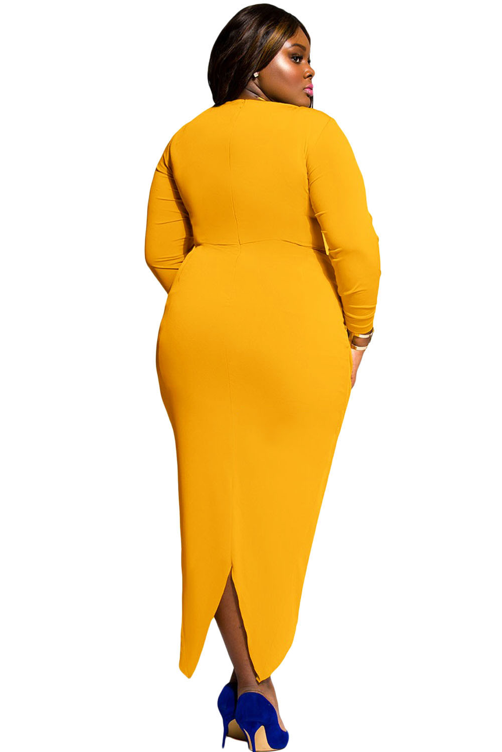 Mustard Knotted Slit Long Sleeve