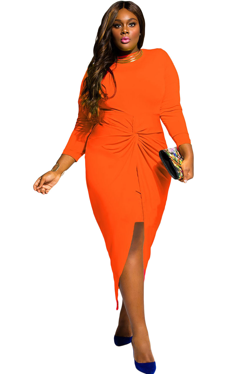 Orange Knotted Slit Long Sleeve