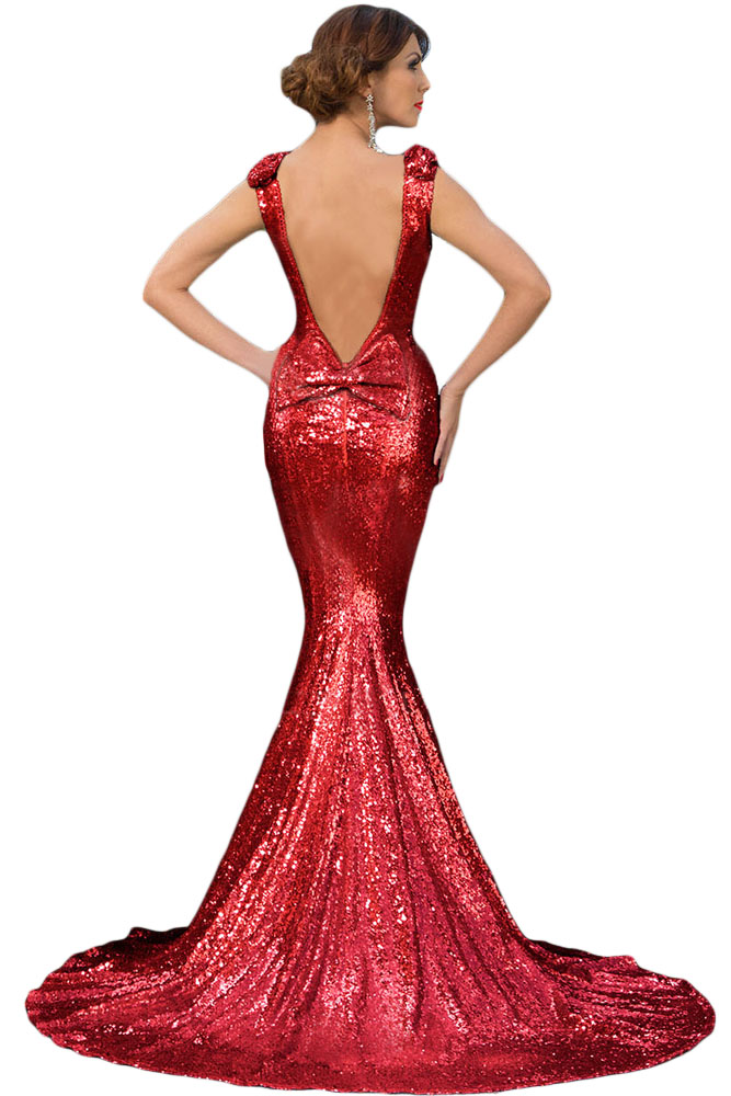 Red Full Sequin Big Bow Accent Party Dress | Charming Wear