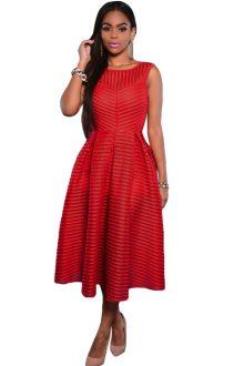 Red Stripes V Back Midi Dress