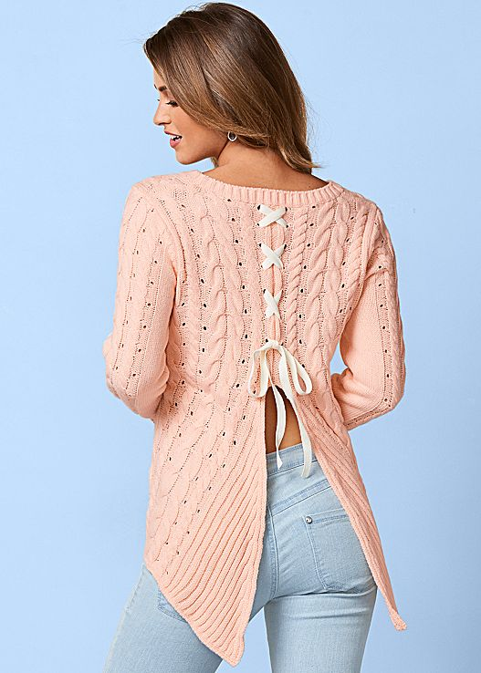 CABLED LACE UP SWEATER