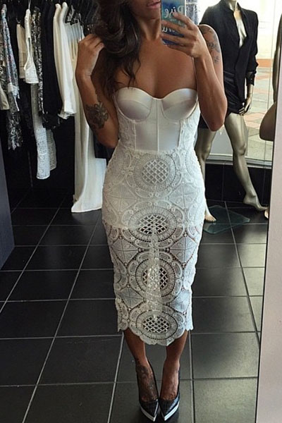 Cutout Lace Panel Bustier Bandage