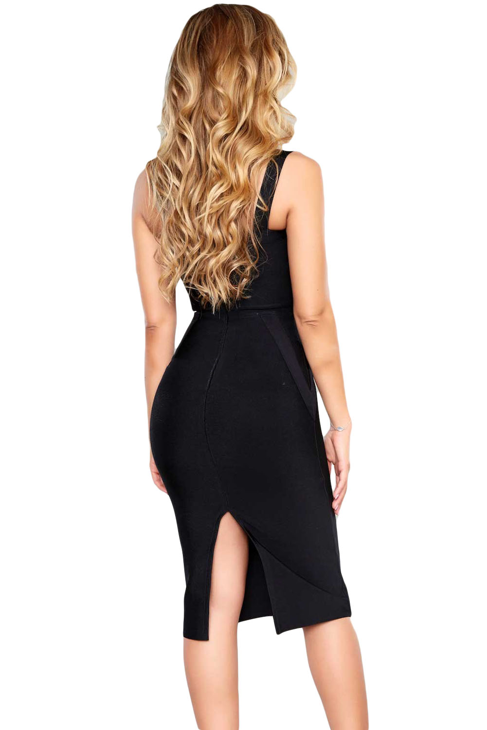 Black High Neck Hollow-out Bandage Dress