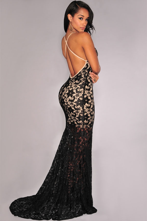 3e553178277 Product Description. Fully Lined Lace Evening Dress