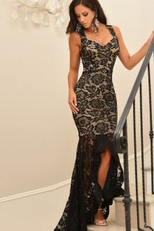 Black Lace Nude Illusion Dress