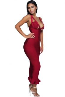 Burgundy Fishtail Luxe Bandage Dress