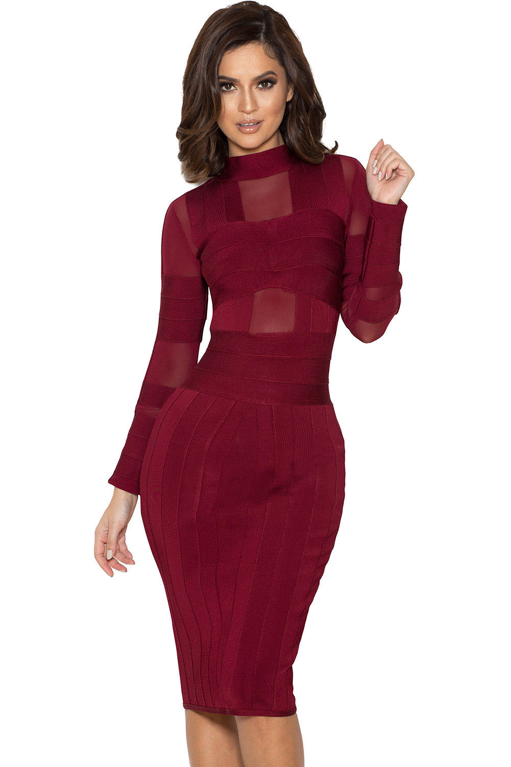 Elegant Long Sleeve Bandage Dress | Charming Wear