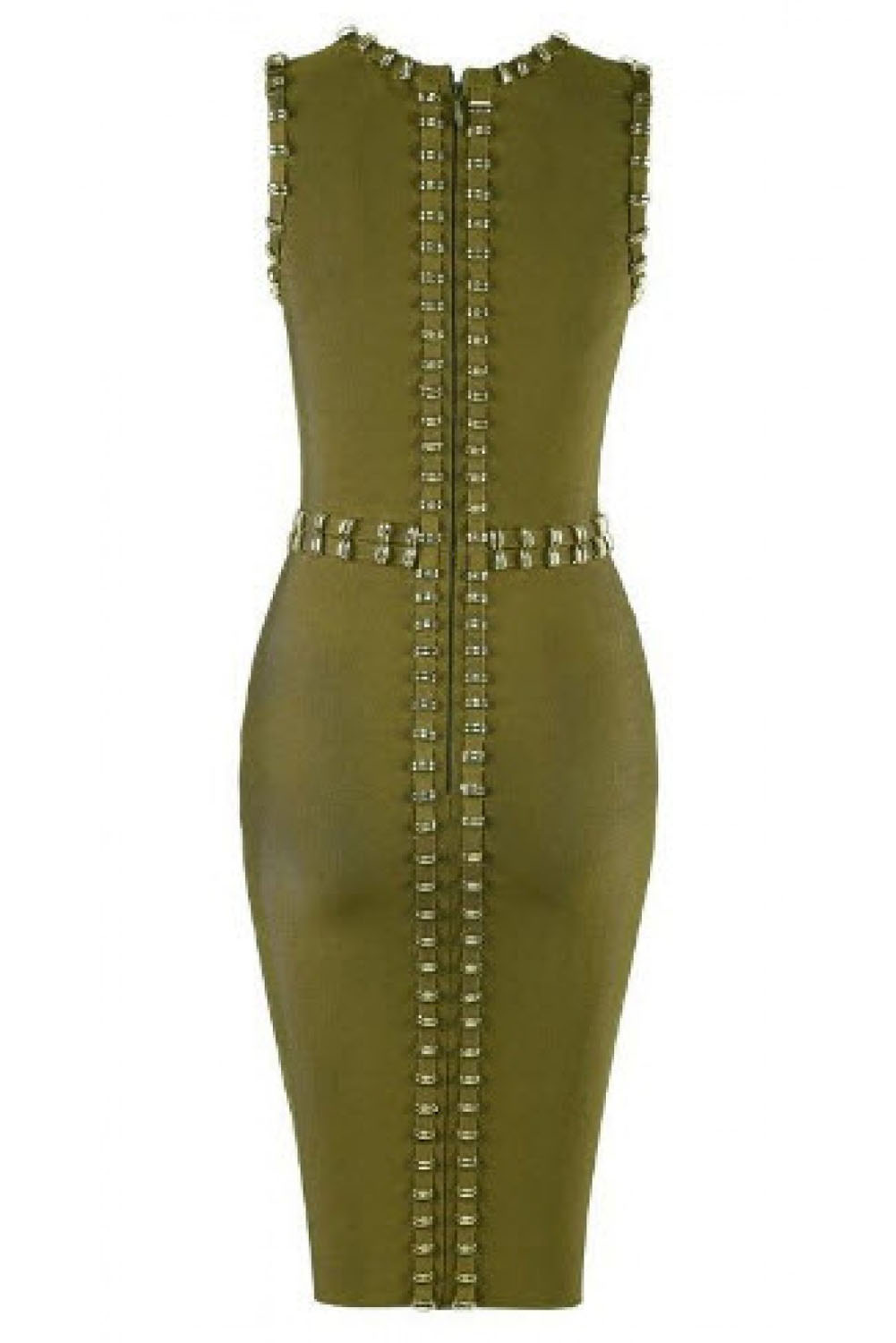 Gold Metal Embellished Detail Olive