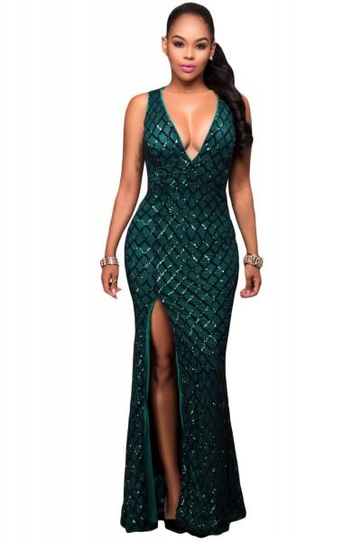 Green Gold Diamond Sequins Key-hole