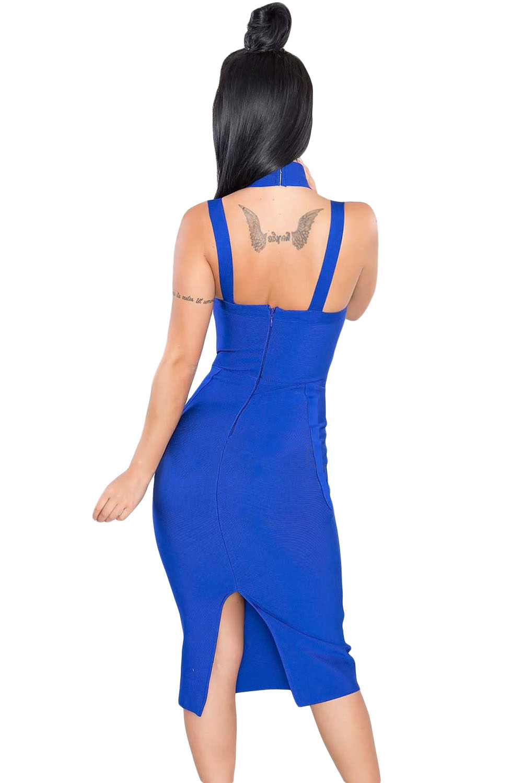 Royal Blue High Neck Hollow-out Bandage Dress